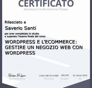 Certificato Corso Gestire un Negozio Web con Wordpress