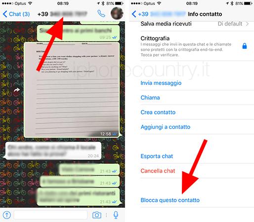 blocca questo contatto - Come diventare invisibili su WhatsApp