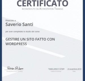 Certificato Corso Gestire un sito fatto con Wordpress